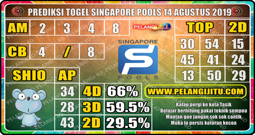 PREDIKSI TOGEL SINGAPORE POOLS 14 AGUSTUS 2019