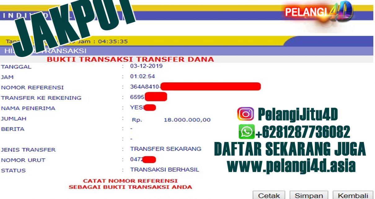 Bukti Jacpot Togel Member Pelangi4d 18.000.000 Dengan Modal 100.000 Rupiah