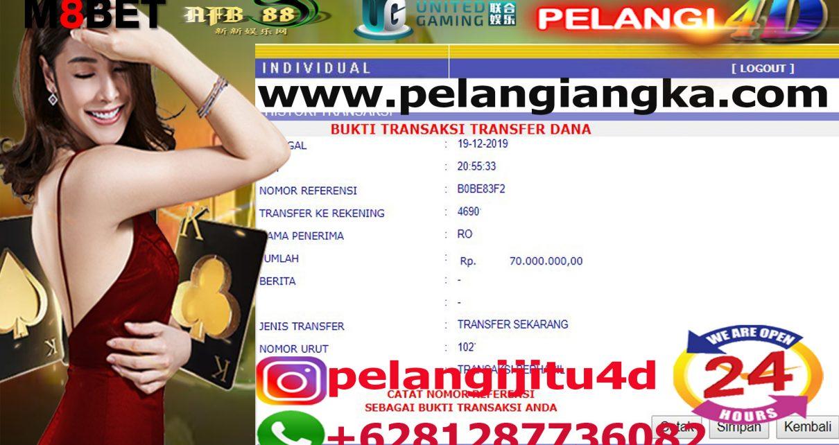 Bukti Jacpot Togel Member Pelangi4d 70.000.000 Jt Di Bayar Lunas