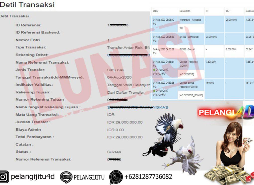 Member Pelangi4d Jackpot SABUNG AYAM Pelangi4D 04 AGUSTUS 2020