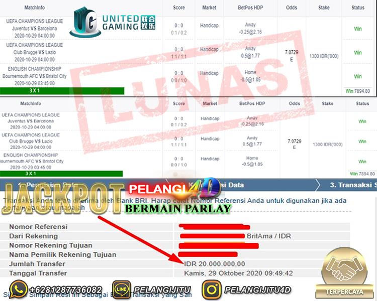 Bukti Kemenangan Jackpot Parlay 29 OKTOBER 2020